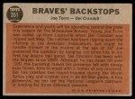 1962 Topps #351   -  Joe Torre / Del Crandall Braves' Backstops Back Thumbnail