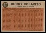 1962 Topps #314   -  Rocky Colavito Colavito's Power Back Thumbnail