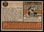 1962 Topps #279  Hobie Landrith  Back Thumbnail