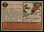 1962 Topps #213  Richie Ashburn  Back Thumbnail
