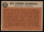 1962 Topps #163 NRM  -  Clete Boyer / Billy Gardner Hot Corner Guardians Back Thumbnail