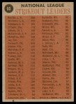 1962 Topps #60   -  Sandy Koufax / Stan Williams / Don Drysdale / Jim O'Toole NL Strikeout Leaders Back Thumbnail