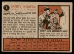 1962 Topps #5  Sandy Koufax  Back Thumbnail