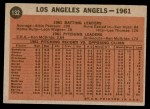 1962 Topps #132 GRN  Angels Team Back Thumbnail