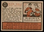 1962 Topps #189 NRM Dick Hall  Back Thumbnail