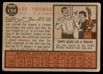 1962 Topps #154 NRM Lee Thomas  Back Thumbnail