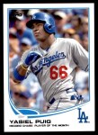 2013 Topps Update #46   -  Yasiel Puig Record Chase Player of the Month Front Thumbnail