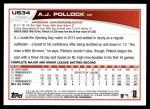 2013 Topps Update #34  A.J. Pollock  Back Thumbnail