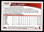 2013 Topps Update #30  Mike Adams  Back Thumbnail