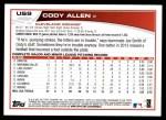 2013 Topps Update #9  Cody Allen  Back Thumbnail