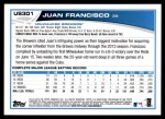 2013 Topps Update #301  Juan Francisco  Back Thumbnail