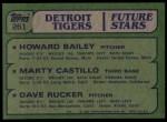1982 Topps #261   -  Marty Castillo / Howard Bailey / Dave Rucker Tigers Rookies Back Thumbnail