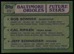 1982 Topps #21   -  Cal Ripken Jr / Bob Bonner / Jeff Schneider Orioles Back Thumbnail