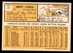 1963 Topps #37  Jerry Lynch  Back Thumbnail