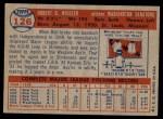 1957 Topps #126  Bob Wiesler  Back Thumbnail