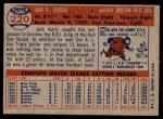 1957 Topps #220  Jackie Jensen  Back Thumbnail