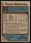 1977 Topps #41  Dave Maloney  Back Thumbnail