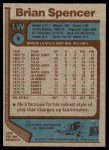 1977 Topps #9  Brian Spencer  Back Thumbnail