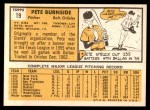 1963 Topps #19  Pete Burnside  Back Thumbnail