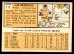 1963 Topps #116  Jim Brosnan  Back Thumbnail