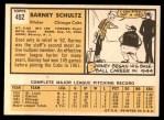 1963 Topps #452  Barney Schultz  Back Thumbnail