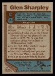 1977 Topps #158  Glen Sharpley  Back Thumbnail