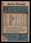 1977 Topps #128  Jerry Korab  Back Thumbnail