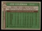 1976 Topps #456  Joe Coleman  Back Thumbnail