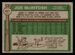 1976 Topps #497  Joe McIntosh  Back Thumbnail