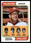1974 Topps #119   -  Danny Ozark / Carroll Beringer / Bill DeMars / Ray Ripplemeyer / Bobby Wine Phillies Leaders  Front Thumbnail