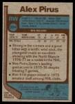 1977 Topps #204  Alex Pirus  Back Thumbnail