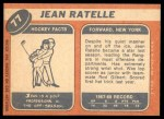 1968 Topps #77  Jean Ratelle  Back Thumbnail