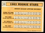 1963 Topps #324   -  Pete Ward / Vic Davalillo / Phil Roof / George Williams Rookies   Back Thumbnail