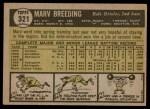 1961 Topps #321  Marv Breeding  Back Thumbnail