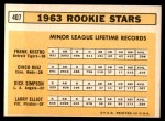 1963 Topps #407   -  Chico Ruiz / Frank Kostro / Larry Elliot / Dick Simpson Rookie Stars   Back Thumbnail