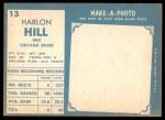1961 Topps #13  Harlon Hill  Back Thumbnail