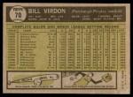 1961 Topps #70  Bill Virdon  Back Thumbnail