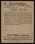 1939 Play Ball #81  Babe Dahlgren  Back Thumbnail