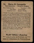 1939 Play Ball #74  Cookie Lavagetto  Back Thumbnail