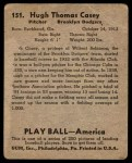 1939 Play Ball #151  Hugh Casey  Back Thumbnail