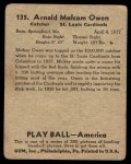 1939 Play Ball #135  Mickey Owen  Back Thumbnail