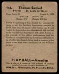 1939 Play Ball #146  Tom Sunkel  Back Thumbnail