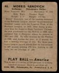 1939 Play Ball #46  Morrie Arnovich  Back Thumbnail