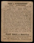 1939 Play Ball #110  Fred Fitzsimmons  Back Thumbnail