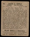 1939 Play Ball #66  Jimmy Ripple  Back Thumbnail
