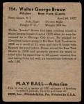 1939 Play Ball #124  Jumbo Brown  Back Thumbnail