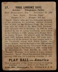 1939 Play Ball #37  Spud Davis  Back Thumbnail
