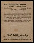 1939 Play Ball #147  George Coffman  Back Thumbnail