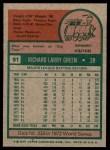 1975 Topps #91  Dick Green  Back Thumbnail