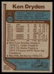 1977 Topps #100  Ken Dryden  Back Thumbnail